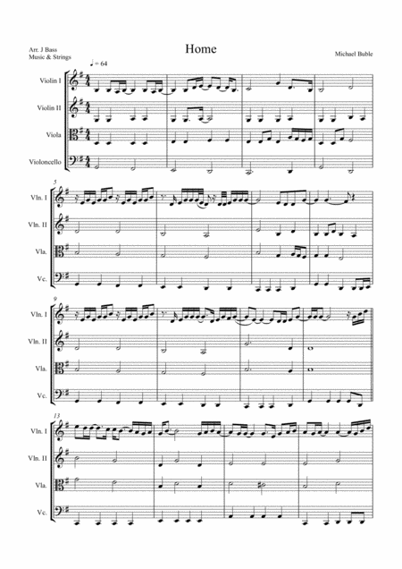 Home by Michael Buble arranged for String Quartet (2 x Violins, Viola and 'Cello)