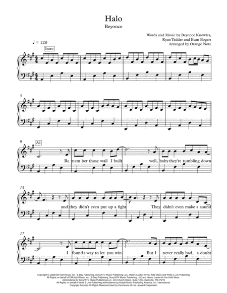 Halo by Beyonce (Easy Piano)