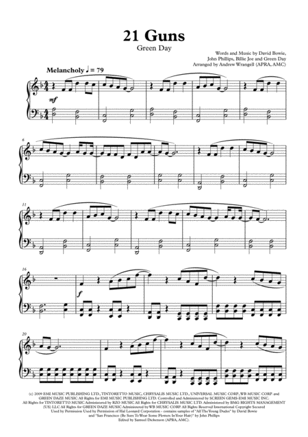 21 Guns (Piano)