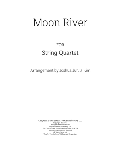 Moon River for String Quartet