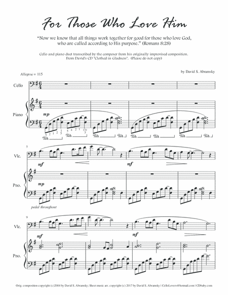 For Those Who Love Him (arr. for cello and piano)