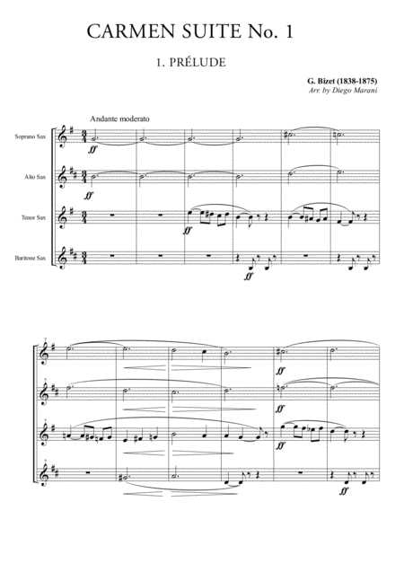 Carmen Suite No. 1 for Saxophone Quartet