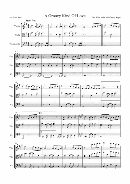 A Groovy Kind Of Love sung by Phil Collins arranged for String Trio (Violin, Viola and 'Cello)