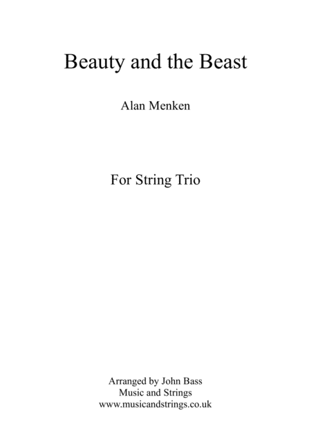 Beauty And The Beast by Alan Menken arranged for String Trio (Violin, Viola and 'Cello)