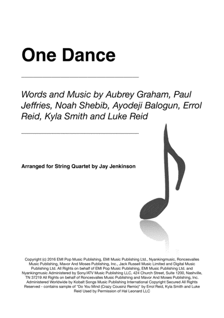 One Dance for String Quartet