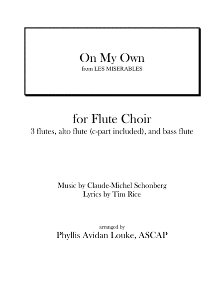 On My Own for Flute Choir from LES MISERABLES