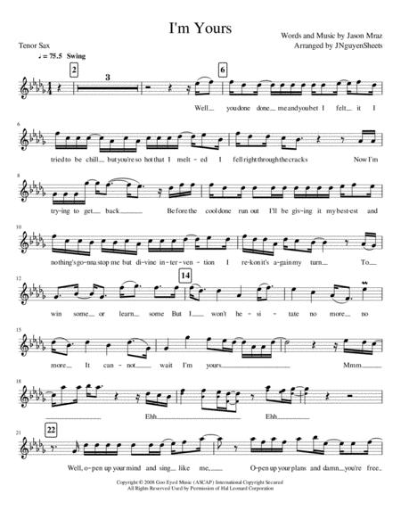 I'm Yours (Tenor Saxophone)