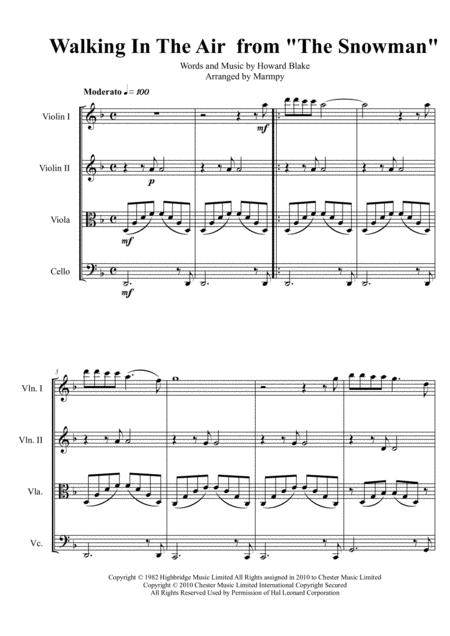 Walking In The Air - Howard Blake (arranged for String Quartet)
