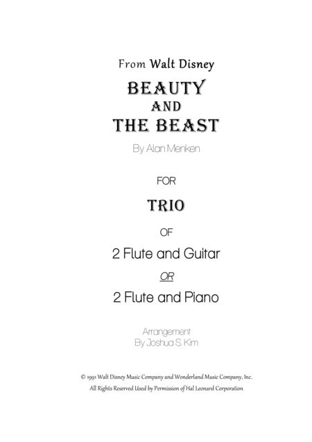 Beauty and the Beast for Trio - 2 flutes & piano (or classical guitar)