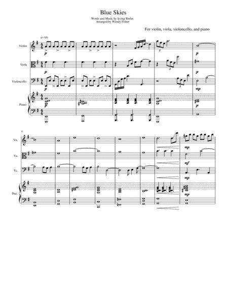 Blue Skies - For Piano Quartet