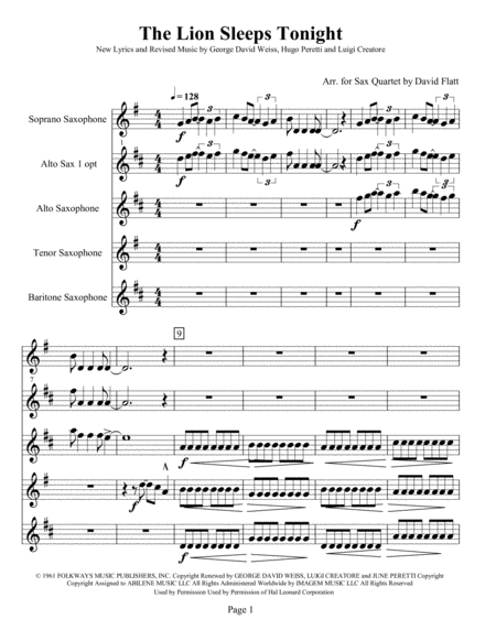 S(A)ATB Sax Quartet - The Lion Sleeps Tonight