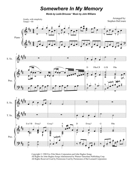 Somewhere In My Memory (Duet for Soprano and Tenor Saxophone)