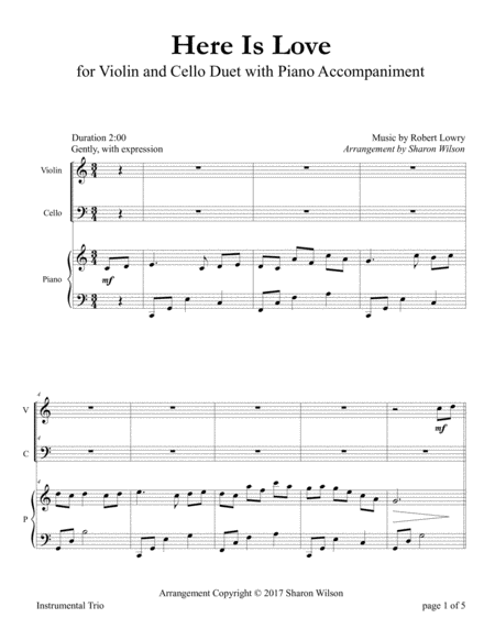 Here Is Love (for Violin and Cello Duet with Piano Accompaniment)