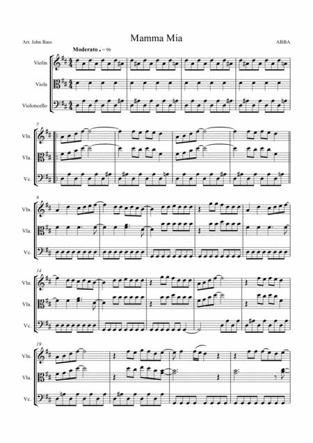 Mamma Mia by ABBA arranged for String Trio (Violin, Viola and 'Cello)