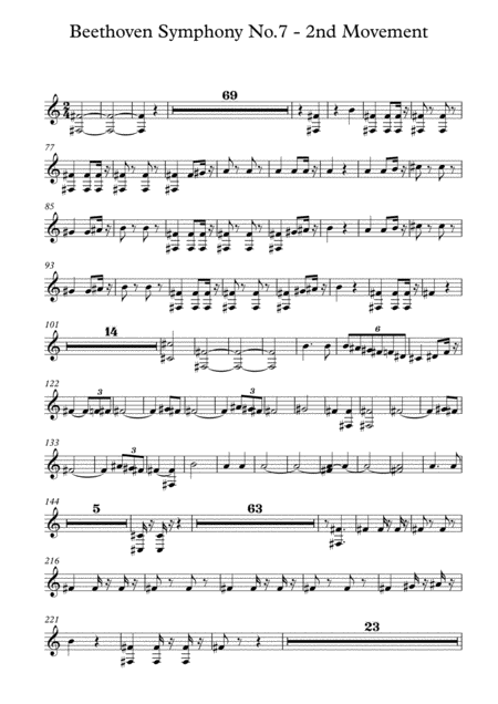 Beethoven symphony No.7 - 2nd Movement (Transposed Horn in Bb)