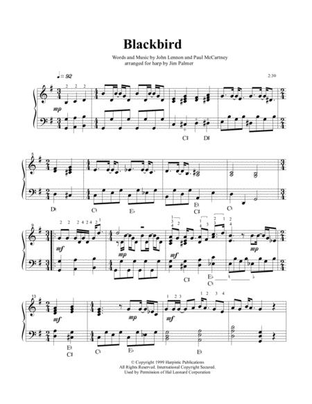 Blackbird for pedal harp