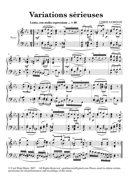 Variations sérieuses in C minor for piano