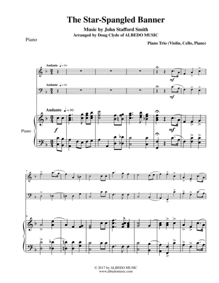 The Star-Spangled Banner for Piano Trio