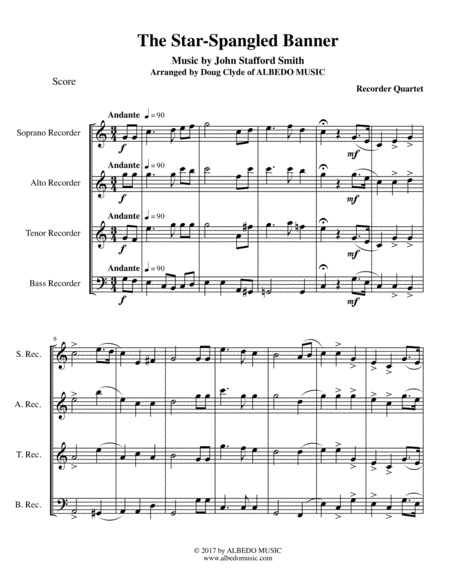 The Star-Spangled Banner for Recorder Quartet