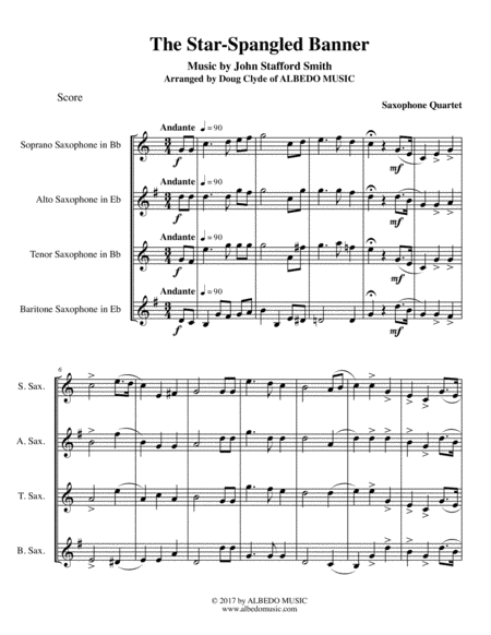 The Star-Spangled Banner for Saxophone Quartet