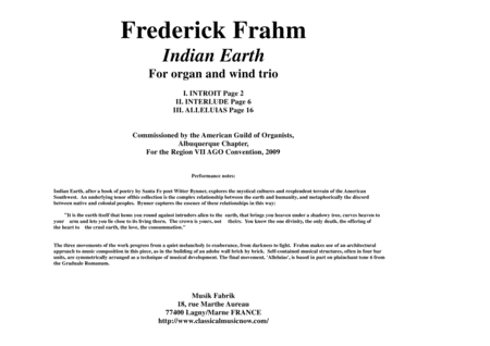 Frederick Frahm:  Indian Earth for oboe (flute), Bb clarinet, bassoon and organ