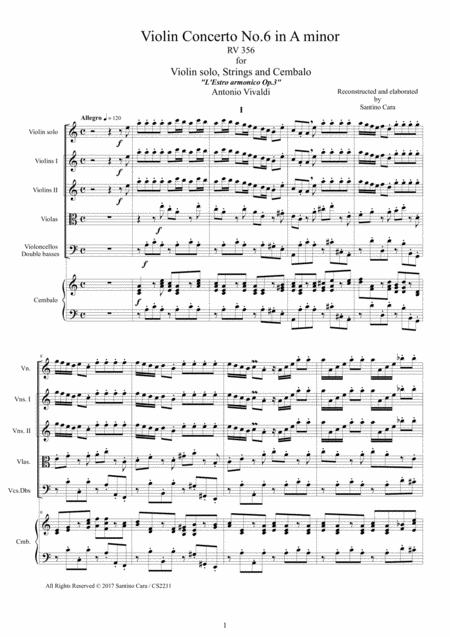 Vivaldi - Violin Concerto No.6 in A minor Rv 356 Op.3 for Violin, Strings and Cembalo