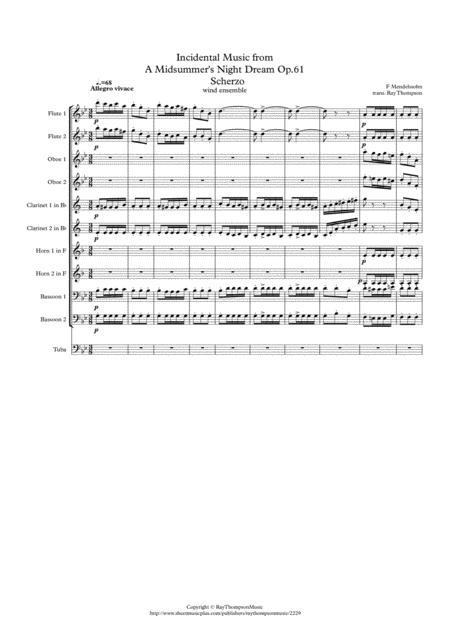 Mendelssohn: Incidental Music from A Midsummer Night's Dream Op.61- 1.Scherzo - wind dectet (& tuba)