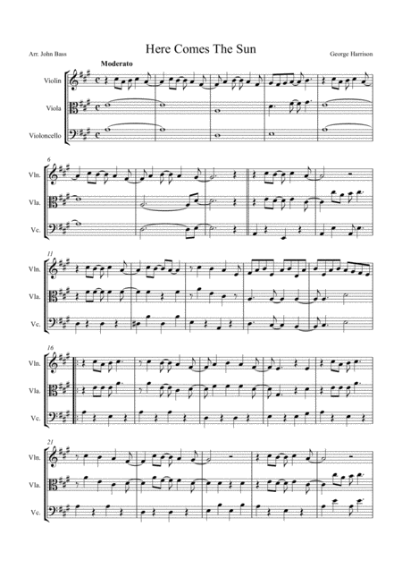 Here Comes The Sun by The Beatles, arranged for String Trio (Violin, Viola and 'Cello)