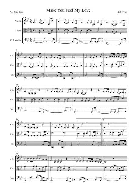 Make You Feel My Love by Adele, arranged for String Trio (Violin, Viola and'Cello)