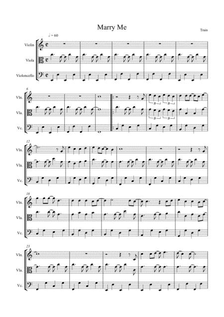 Marry Me by Train, arranged for String Trio (Violin, Viola and 'Cello)