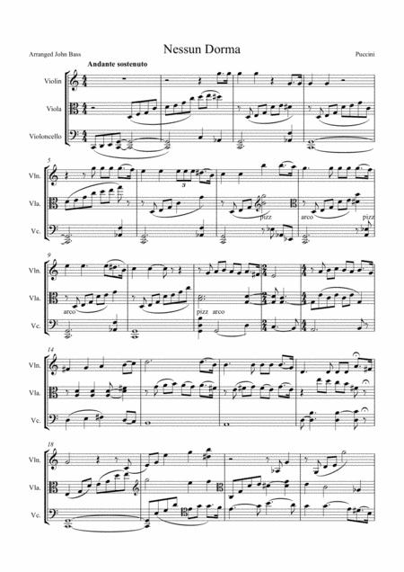 Nessun Dorma by Puccini, arranged for String Trio (Violin, Viola and 'Cello)