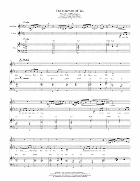 The Nearness Of You -- Vocal Solo with Alto Sax & Piano Accompaniment