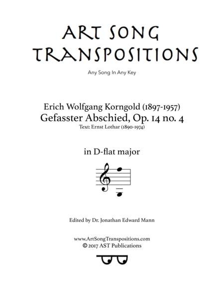 Gefasster Abschied, Op. 14 no. 4 (D-flat major)