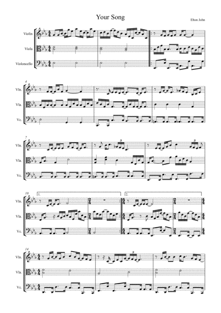 Your Song by Elton John, arranged for String Trio (Violin, Viola and 'Cello)