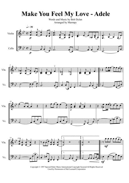 Make You Feel My Love - Adele (arranged for String Duet)