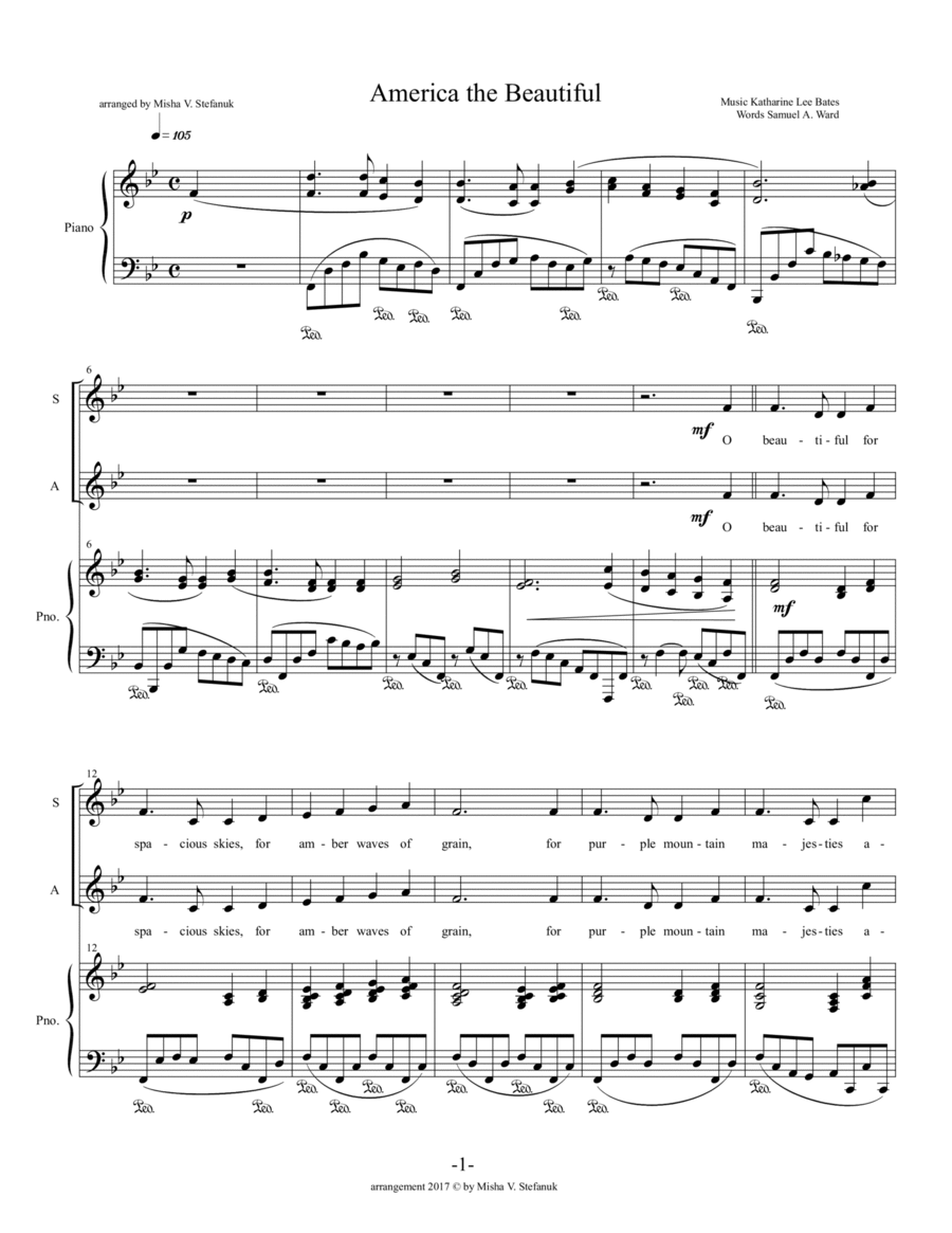 America the Beautiful SATB + congregation in verse 3
