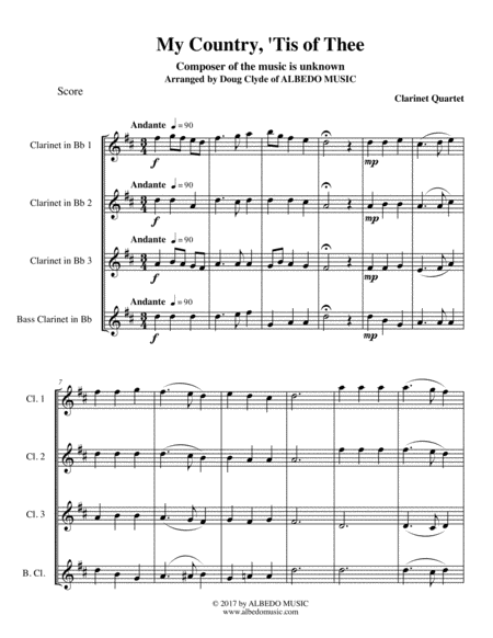 My Country, 'Tis of Thee for Clarinet Quartet