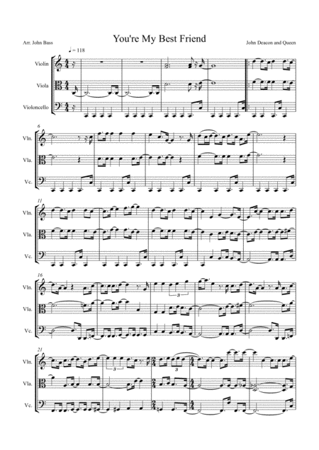 You're My Best Friend by Queen arranged for String Trio (Violin, Viola and 'Cello)