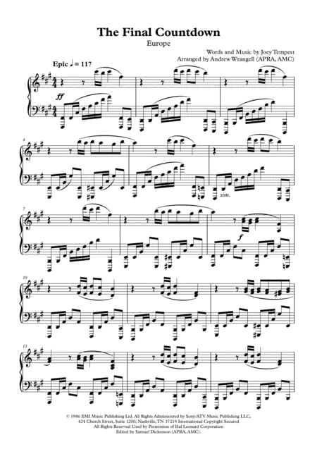 The Final Countdown (Piano - Concert Version)