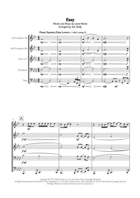 Easy (Like Sunday Morning) for Brass Quintet