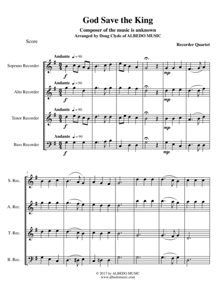 God Save the King for Recorder Quartet