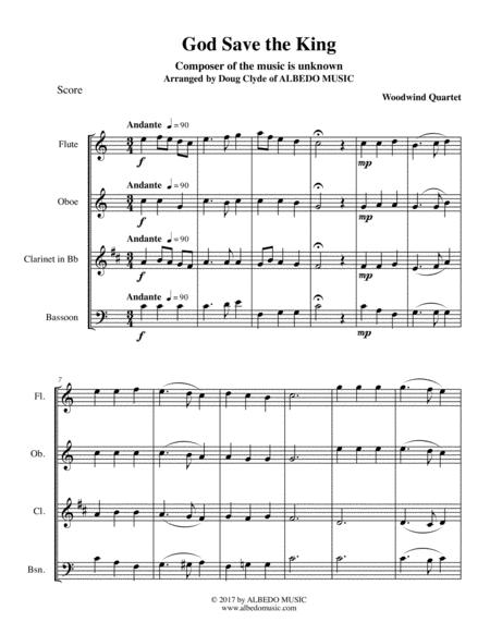 God Save the King for Woodwind Quartet