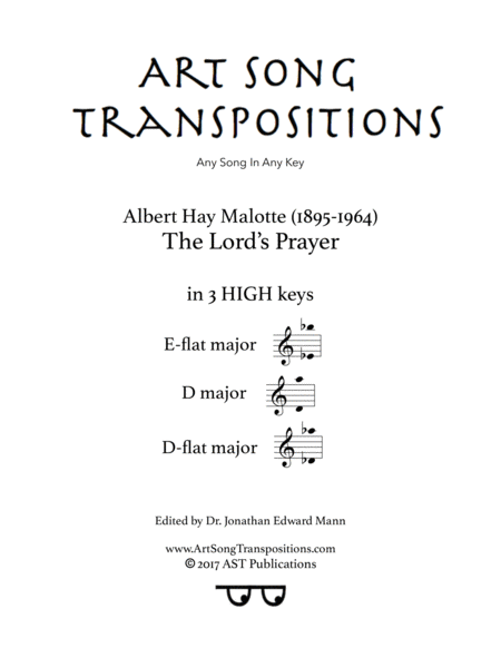 The Lord's Prayer (in 3 high keys: E-flat, D, D-flat major)