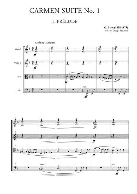 Carmen Suite No. 1 for String Quartet