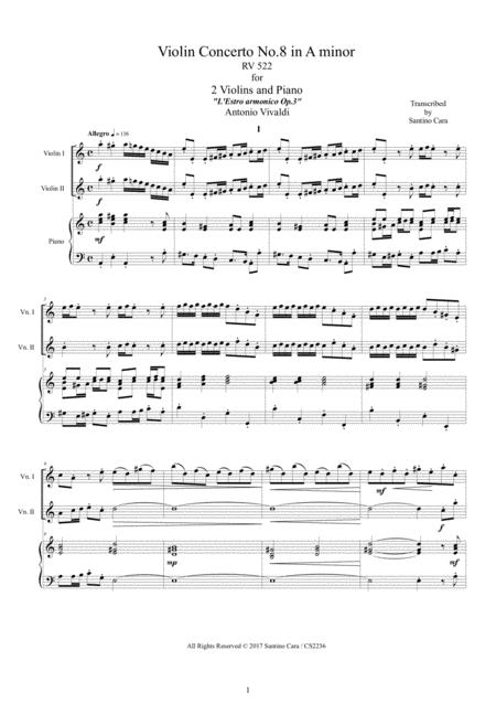 Vivaldi - Violin Concerto No.8 in A minor RV 522 Op.3 for Two Violins and Piano