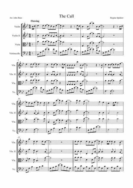 The Call by Regina Spektor, arranged for String Quartet