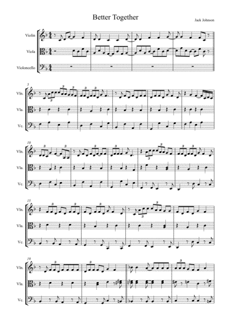 Better Together by Jack Johnson arranged for String Trio (Violin, Viola and 'Cello)