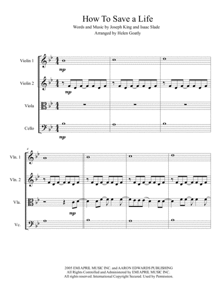 How To Save A Life by The Fray arranged for String Quartet