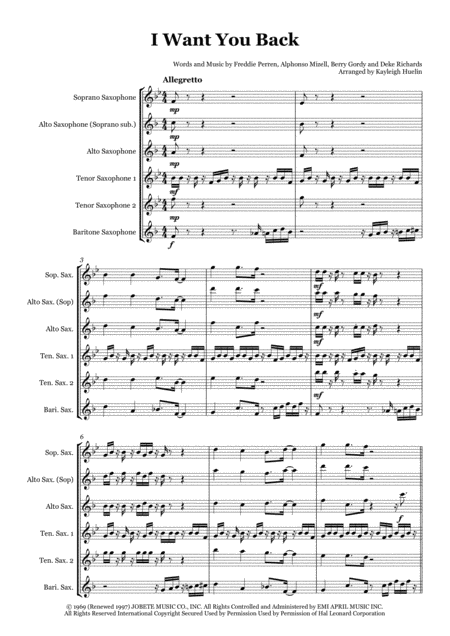 I Want You Back - Saxophone quintet (SATTB/AATTB)
