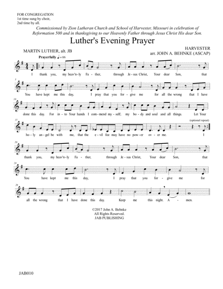 Luther's Evening Prayer (two-part, unison/soloist, and congregational page)